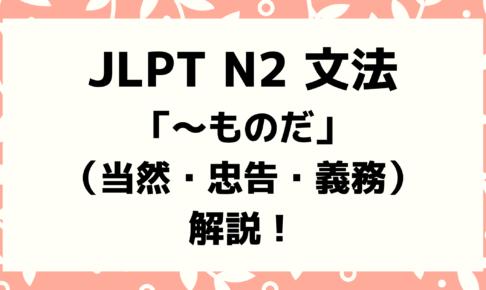 【文法解説】日本語能力試験JLPT N2「~ものだ」(①当然②忠告・義務)